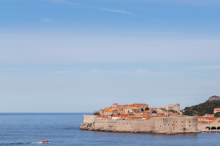 Warm, crystal clear waters of the Adriatic Sea lap up against the Pearl of the Adriatic during spring time in the far southern corner of Croatia�s Dalmatia region. Editorial
