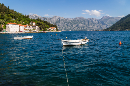 The old town of Perast seen at the foot of St Ilija along the picturesque coast of Montenegro.