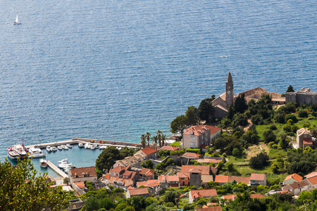 The Franciscan monastery and the harbour of Lopud Island near Dubrovnik in the Adriatic Sea.