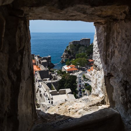 former yugoslavia: The perfectly preserved medieval town of Dubrovnik surrounded by a rugged perimeter wall.