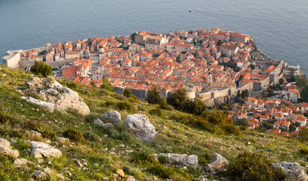 srd: Multiple image panorama of Dubrovnik nestled between the turquoise coloured Adriatic Sea and the mountains of South Dalmatia. Stock Photo