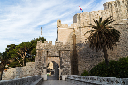 The main entrance into the old town from the east, Ploce Gate, like Pile Gate, is a 15th-century stone bridge with a wooden drawbridge and a stone arch bearing a statue of St Blaise.
