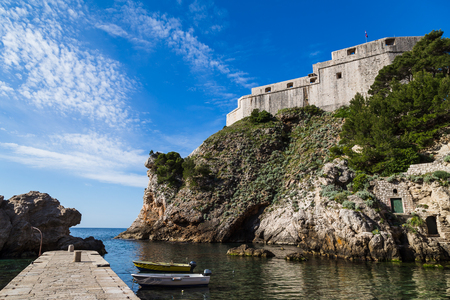 centimetres: The triangular shaped Fort Lovrijenac jutting out into the Adriatic.  The walls facing Dubrovnik are only 60 centimetres thick - in case the Fort was taken by an enemy it could easily be destroyed directly from the city walls.