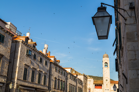 The sun begins to descend over Dubrovnik, casting the Stradun in a beautiful golden light.  Starlings frantically twist this way and that before they roost for the night.