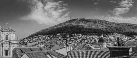 srd: A multiple image panorama of the Northern section of the historic walls which surround Dubrovnik, seen at the foot of Srd Hill, the place which was instrumental in defending the Pearl of the Adriactic during the Balkans War in the early 1990s.