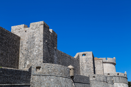 former yugoslavia: The Northern side of the ancient city walls which have defended the old town from aggressors for centuries.  This was captured in the Spring of 2017 against a clear blue sky. Stock Photo