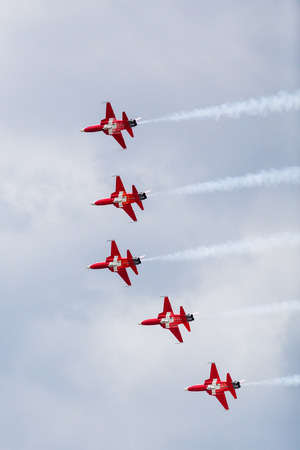 Patrouille Suisse (flying F-5E Tiger II) seen at the 2017 Royal International Air Tattoo at Royal Air Force Fairford in Gloucestershire - the largest military airshow in the world.
