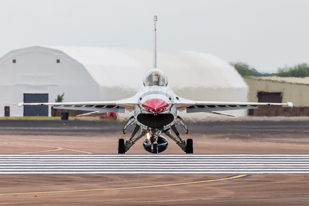 The Thunderbirds display team the seen at the 2017 Royal International Air Tattoo at Royal Air Force Fairford in Gloucestershire.