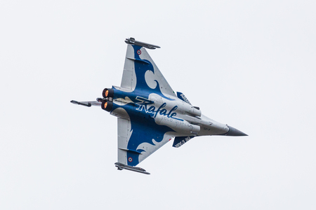 Rafale from the French Air Force seen at the 2017 Royal International Air Tattoo at Royal Air Force Fairford in Gloucestershire - the largest military airshow in the world. Editorial