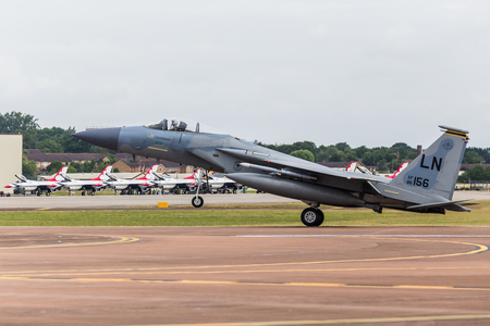F-15C Eagle from the USAF seen at the 2017 Royal International Air Tattoo at Royal Air Force Fairford in Gloucestershire - the largest military airshow in the world.