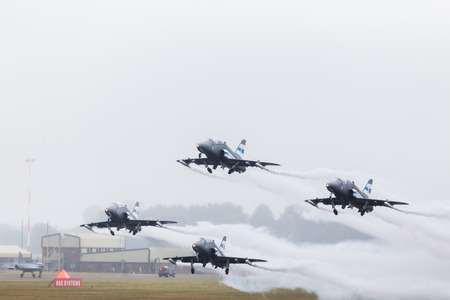 Midnight Hawks from the Finnish Air Force seen at the 2017 Royal International Air Tattoo at Royal Air Force Fairford in Gloucestershire.