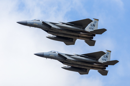 F-15C Eagle pair from Lakenheath take part in a special USAF 70th anniversary flypast at the 2017 Royal International Air Tattoo at Royal Air Force Fairford in Gloucestershire - the largest military airshow in the world.