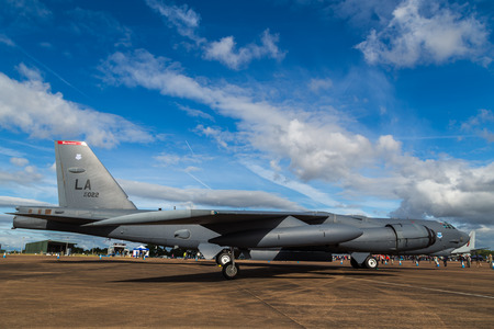 B-52 Stratofortress from the USAF seen at the 2017 Royal International Air Tattoo at Royal Air Force Fairford in Gloucestershire - the largest military airshow in the world.