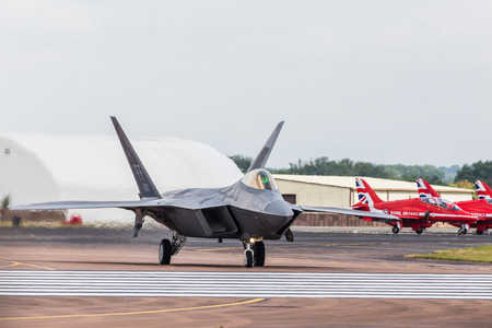 The USAF F-22 Raptor the seen at the 2017 Royal International Air Tattoo at Royal Air Force Fairford in Gloucestershire - the largest military airshow in the world.