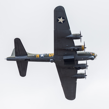 B-17 Flying Fortress from the USAF seen at the 2017 Royal International Air Tattoo at Royal Air Force Fairford in Gloucestershire - the largest military airshow in the world. Editorial