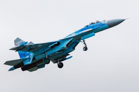 Su-27 Flanker from the Ukrainian Air Force seen at the 2017 Royal International Air Tattoo at Royal Air Force Fairford.