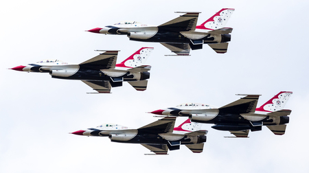 The Thunderbirds display team the seen at the 2017 Royal International Air Tattoo at Royal Air Force Fairford in Gloucestershire - the largest military airshow in the world. Editorial
