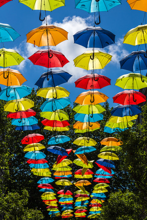 Two hundred colourful umbrellas suspended above a street in Liverpool city centre to raise awareness about ADHT. Stock Photo