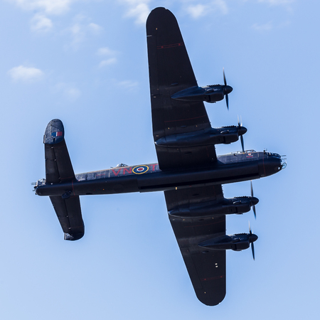 The Lancaster bomber from World War Two captured opening its bomb doors at the Blackpool airshow.