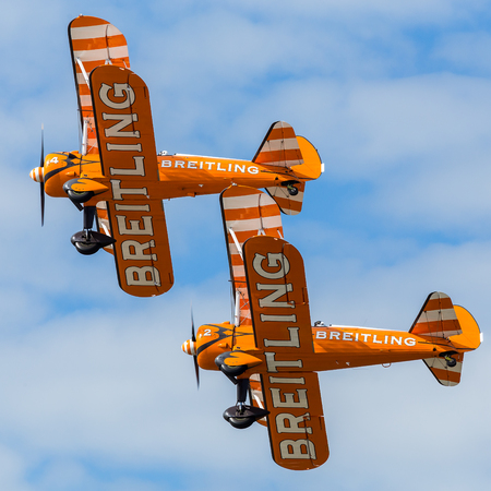 Closeup of the Wingwalkers as they fly in tight formation at the Blackpool airshow.
