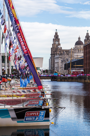 Clipper fleet in Liverpool ready for the start of the race.  The Clipper Race (now in its eleventh year) sees twelve global teams compete in a 40000 nautical mile around the world race on a 70 foot ocean racing yachts.The teams are due to leave the host p