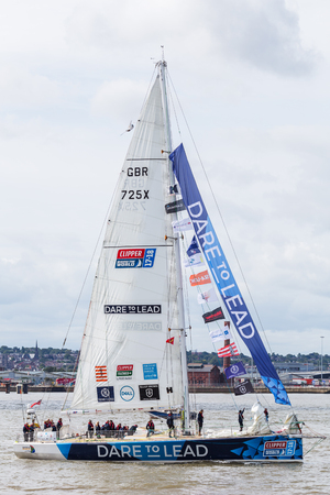 Dare to Lead prepare for the race start on the River Mersey.The Clipper Race (now in its eleventh year) sees twelve global teams compete in a 40000 nautical mile around the world race on a 70 foot ocean racing yachts.The teams left the host port of Liverp