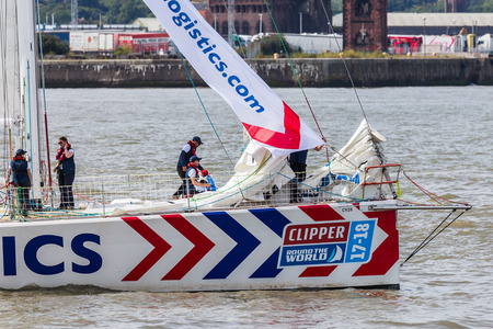 mersey: The crew of PSP Logistics prepare for the race start on the River Mersey.The Clipper Race (now in its eleventh year) sees twelve global teams compete in a 40000 nautical mile around the world race on a 70 foot ocean racing yachts.The teams left the host p