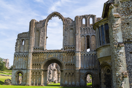 Looking up at the beautiful architecture of Castle Acre Priory in the heart of Norfolk.