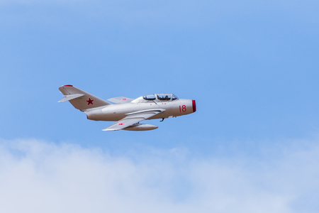 Soviet built MiG-15 jet (NATO codename Fagot) performs a fast pass during the 2017 Southport airshow.