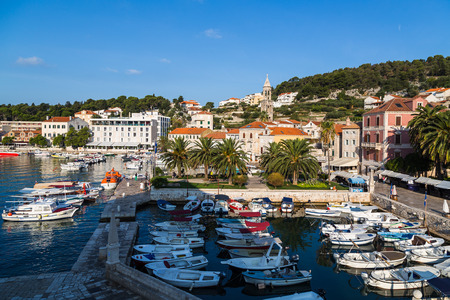Bobbing tour boats in the heart of Hvar Town in the autumn of 2017 - captured from a high vantage point at St Stephens Square.