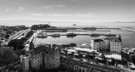 Car ferries, catamarans, yachts and trains seen to the east side of Splits port - seen from the bell tower of Cathedral of St Domnius.