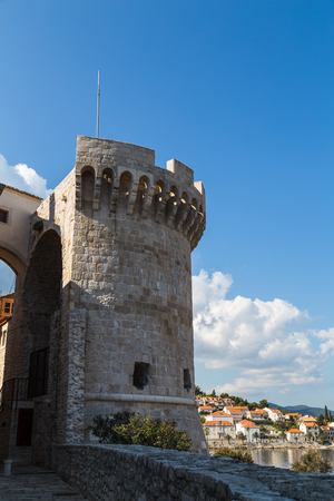 Tower Kanavelic (known as Bokar or Barbarigo Tower) seen on the Northwest side of Korcula old town whilst exploring the charming peninsula. Stock Photo