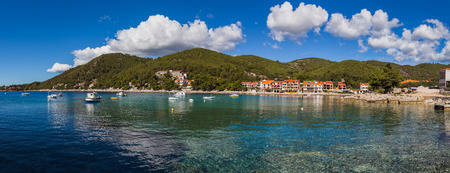 secluded: A multiple image panorama of Prizba, a sleepy village in the Smokvica region of Korcula Island located on the southern slopes.