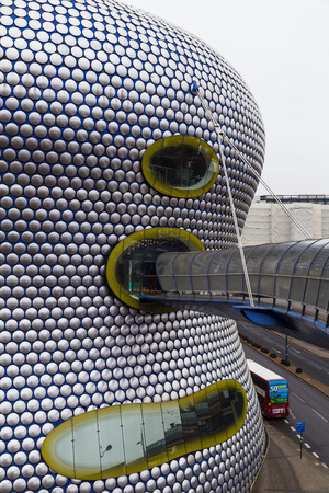 The iconic Selfridges Building in the heart of Birmingham city centre.  The building, which is part of the Bullring shopping centre was completed in 2003.  The facade comprises 15000 anodised aluminium discs mounted on a blue background.