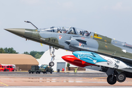 French Air Force Mirage 2000D (part of the Couteau Delta team) pictured at the 2018 Royal International Air Tattoo at RAF Fairford in Gloucestershire.