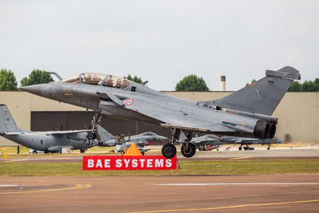French Navy Rafale M pictured at the 2018 Royal International Air Tattoo at RAF Fairford in Gloucestershire. Editorial