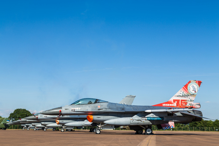 Six European F-16 Vipers lined up at the 2018 Royal International Air Tattoo at RAF Fairford in Gloucestershire.