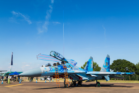 Ukrainian Air Force Su-27 Flanker pictured at the 2018 Royal International Air Tattoo at RAF Fairford in Gloucestershire. Editorial
