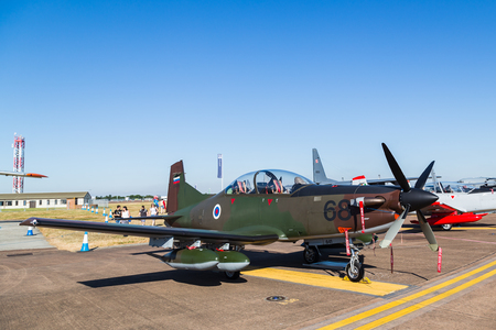 Slovenian Air Force PC-9M Swift pictured at the 2018 Royal International Air Tattoo at RAF Fairford in Gloucestershire.