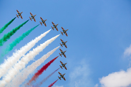 Italian Air Force Frecce Tricolori pictured at the 2018 Royal International Air Tattoo at RAF Fairford in Gloucestershire. Stock Photo