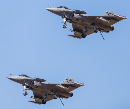 French Navy Rafale M pair pictured at the 2018 Royal International Air Tattoo at RAF Fairford in Gloucestershire.
