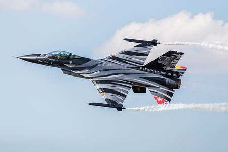 Belgian Air Component F-16AM aka Dark Falcon pictured at the 2018 Royal International Air Tattoo at RAF Fairford in Gloucestershire.