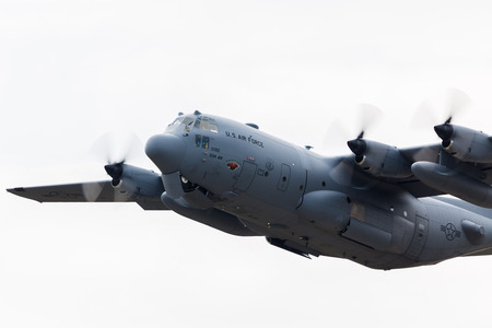 Lockheed C-130H Hercules taking off from RAF Lakenheath in Suffolk during the spring of 2019.