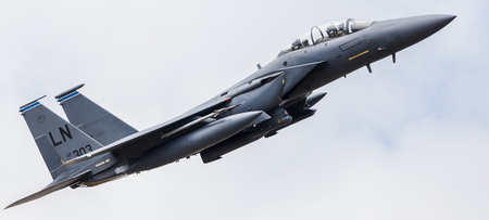 F-15E Strike Eagle assigned to the 492d Tactical Fighter Squadron launching for a training sortie from RAF Lakenheath in April 2019. 報道画像
