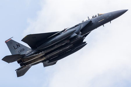 F-15E Strike Eagle assigned to the 494th Tactical Fighter Squadron launching for a training sortie from RAF Lakenheath in April 2019. 報道画像