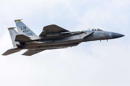 F-15C Eagle assigned to the 493d Tactical Fighter Squadron launching for a training sortie from RAF Lakenheath in April 2019.