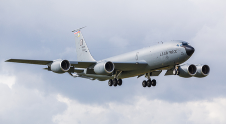 Letterbox crop of a KC-135R Stratotanker of the 100th ARW as it descends into RAF Mildenhall, Suffolk during April 2019.