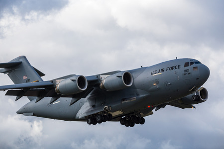 Frame filling shot of a C-17A from the 911th Airlift Wing coming into land at  RAF Mildenhall in Suffolk during April 2019.
