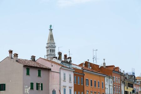 Bell tower of Basilica of St Euphemia towers above the historic part of Rovinj.