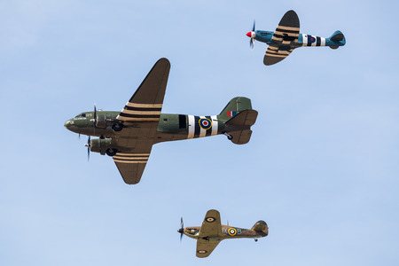 Spitfire, Hurricane and Dakota of the Battle of Britian Memorial Flight captured at the Southport airshow in September 2019.